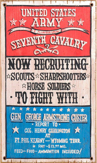 United States Army recruiting poster, circa. 1876.