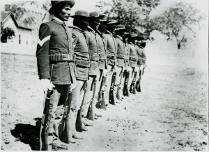 'Indian' scouts, Company C Arizona, 1882. They were first authorised as members of the U.S. Army in 1866 and provided vital knowledge of local terrain and Native American tribes.