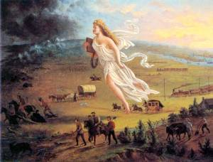 Columbia, the allegorical representation of America is pictured here in John Gast's American Progress driving settlers and thus 'civilisation' westward to colonise new lands and modernise the Wild West'.