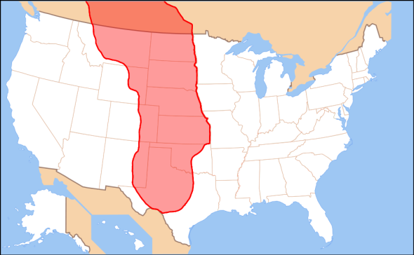 The missing link in uniting a nation. The Great Plains traditionally seen as stretching from southern Canada to the southern American states.