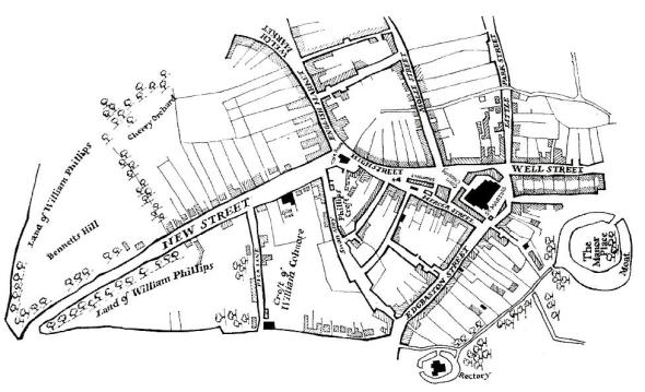 By 1553 the Tudor town had spread down New Street and towards the Priory lands of what is now Bull Street.