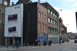 The frontages of Birmingham's surviving burgages located in Digbeth just off Park Street.