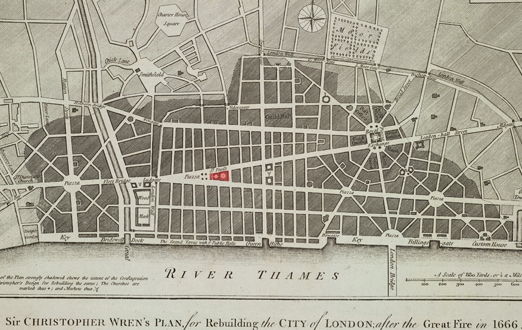 Sir Christopher Wren's proposal for London after the Great Fire of 1666.