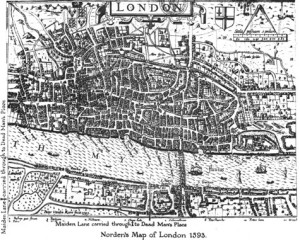 Map of London in 1593. Notice the disorder of the medieval streets.
