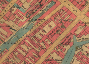 Late 19th-century map showing Fleet Street. Caroline's daughter, also called Caroline, lived briefly at number 3 Fleet Street in 1891 and may well have seen the construction of Newman Brothers, which began in 1892.